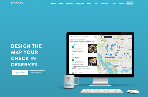 blue mapbox homepage header design