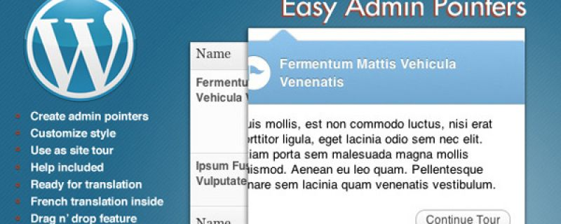 Suggerimenti per pannello di WordPress: Easy Admin Pointers