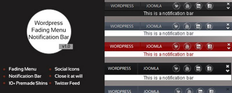 Barra a comparsa per WordPress: Fading Menu plugin