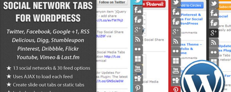 Integrare social networks in WordPress con slide a comparsa