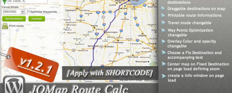 Mappe Google per siti WordPress: JQMap Route Calc plugin