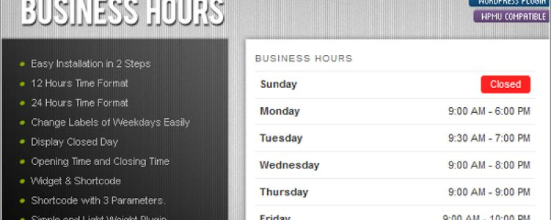Creare tabella orari in WordPress con ATP Business Hours
