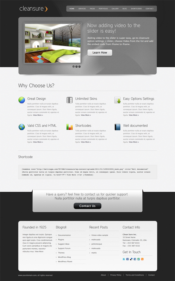 Cleansure - Premium WP CMS Theme - Unlimited skins