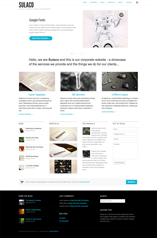 Sulaco Minimalist Typographic Theme for WordPress