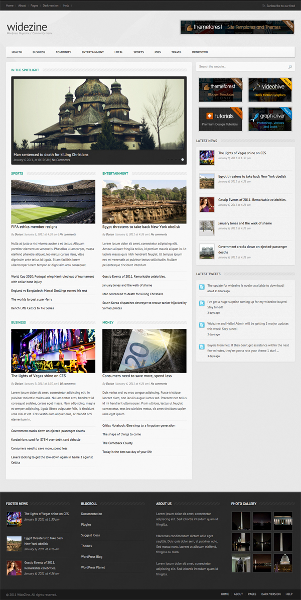 Widezine Magazine News Editorial Community Tema per WordPress