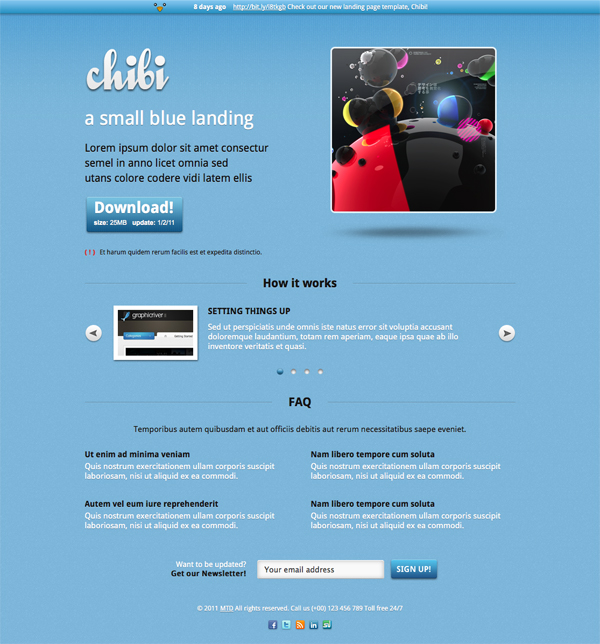 Chibi Small Blue Landing Page by MTD