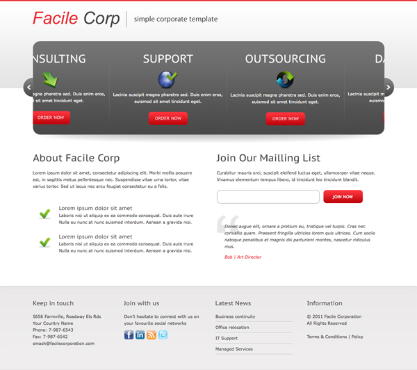 Facile Corp Clean and Professional Landing Page by templatesquare