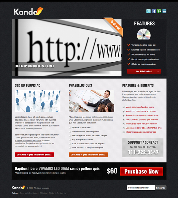 Kando 4 Variations Landing Page Minisite by owltemplates