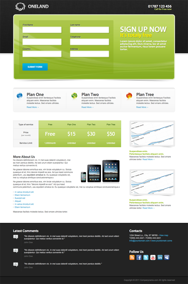 Oneland Landing Page by Ansonika