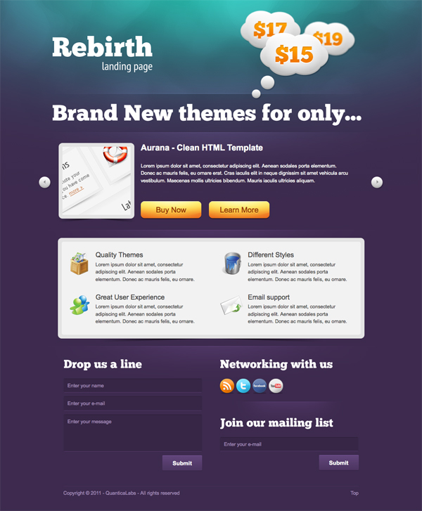Rebirth Landing Page by QuanticaLabs