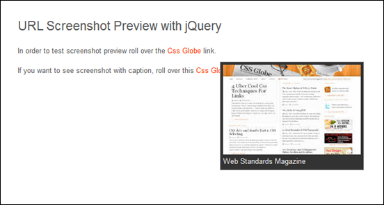 Easiest jQuery Tooltip and URL Screenshot Preview