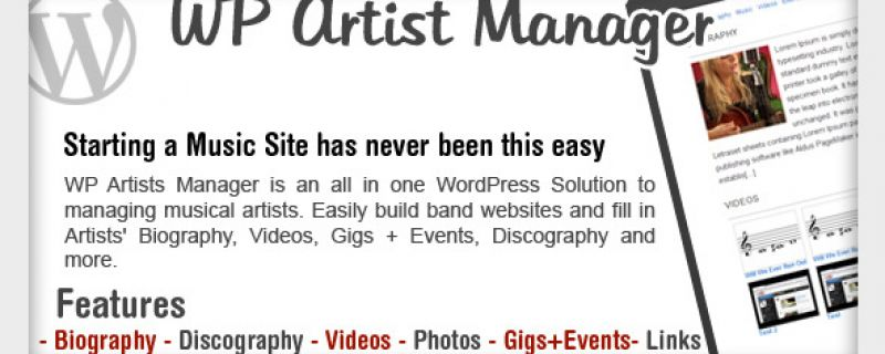 Gestione artisti e band con plugin WordPress semplice ed efficace