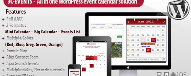 Calendario eventi per WordPress grazie a 3C-Events plugin