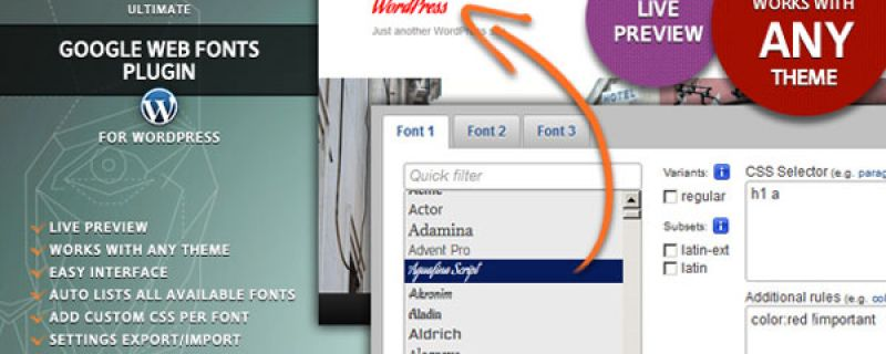 Google web fonts: plugin WordPress per usare fonts gratuiti