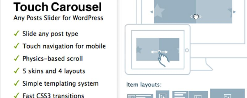 Slider per contenuti in WordPress: TouchCarousel plugin
