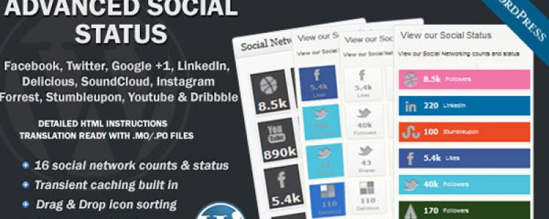 Plugin WordPress per visualizzare lo status dei social networks