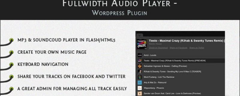 Lettore audio per WordPress: Fullwidth Audio Player plugin