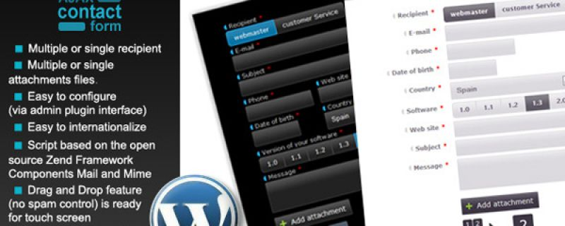 Plugin WordPress per form di contatto Ajax con allegati