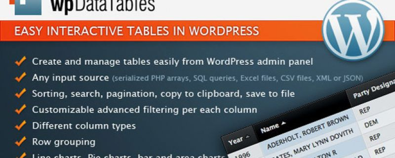 Tabelle interattive su siti WordPress: WpData Tables plugin