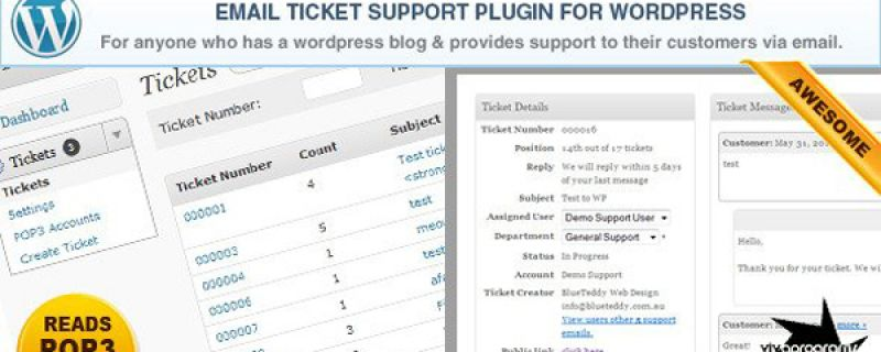 Ticket support WordPress plugin per gestione di tickets via mail
